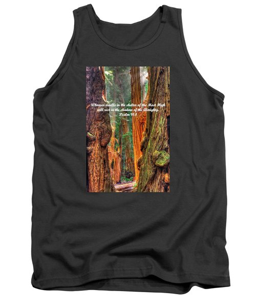 Rest In The Shadow Of The Almighty - Psalm 91.1 - From Sunlight Beams Into The Grove At Muir Woods Tank Top by Michael Mazaika