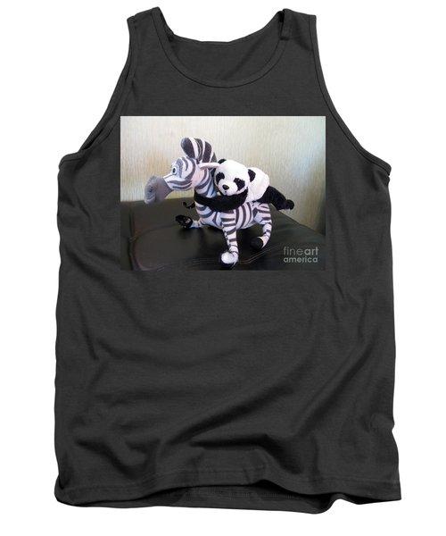 Tank Top featuring the photograph Riding A Zebra.traveling Pandas Series by Ausra Huntington nee Paulauskaite