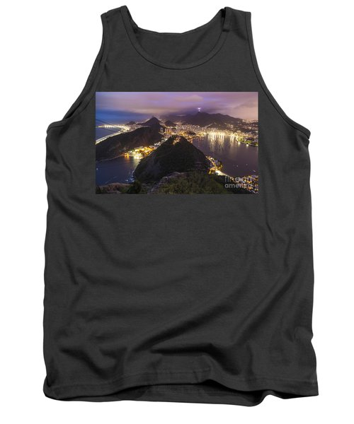 Rio Evening Cityscape Panorama Tank Top by Mike Reid