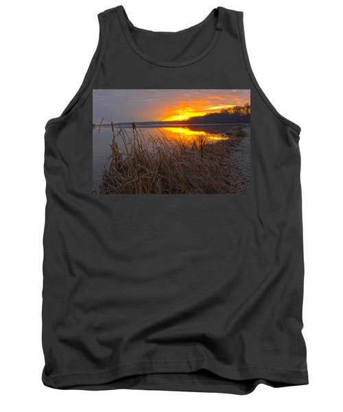 Tank Top featuring the photograph Rising Sunlights Up Shore Line Of Cattails by Randall Branham