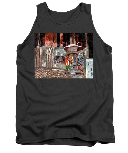 Tank Top featuring the painting River Antoine Rum Distillery by Laura Forde