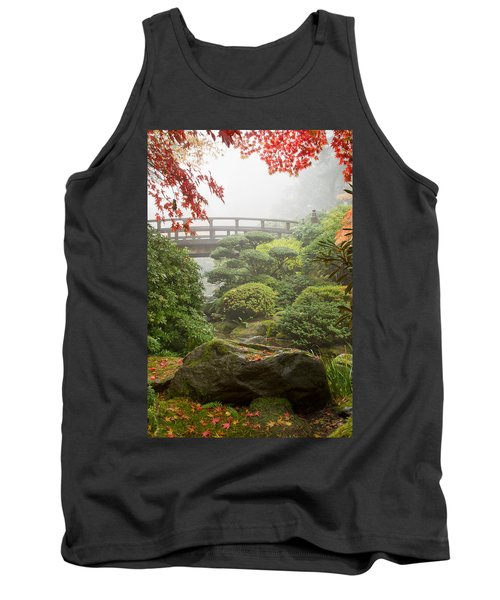 Tank Top featuring the photograph Rock And Bridge At Japanese Garden by JPLDesigns