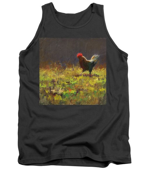 Rooster Strut - Impressionistic Chicken Landscape - Abstract Farm Art - Chicken Art - Farm Decor Tank Top