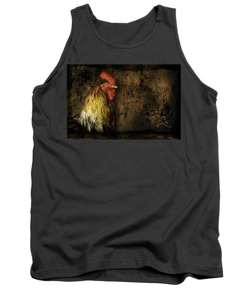 Tank Top featuring the mixed media Rooster With Brush Calligraphy Loyalty by Peter v Quenter