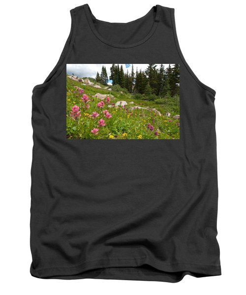 Rosy Paintbrush And Trees Tank Top