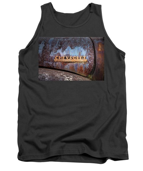Tank Top featuring the photograph Rusty Chevrolet - Nameplate - Old Chevy Sign by Gary Heller