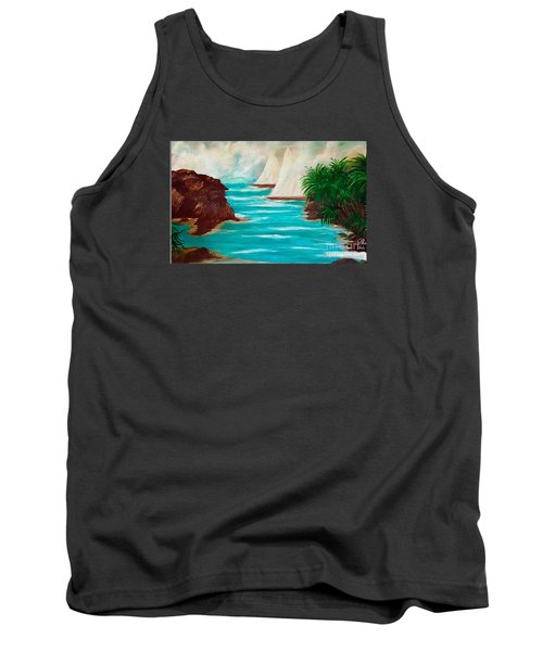 Tank Top featuring the painting Sailing The Coast Of California by Sherri  Of Palm Springs