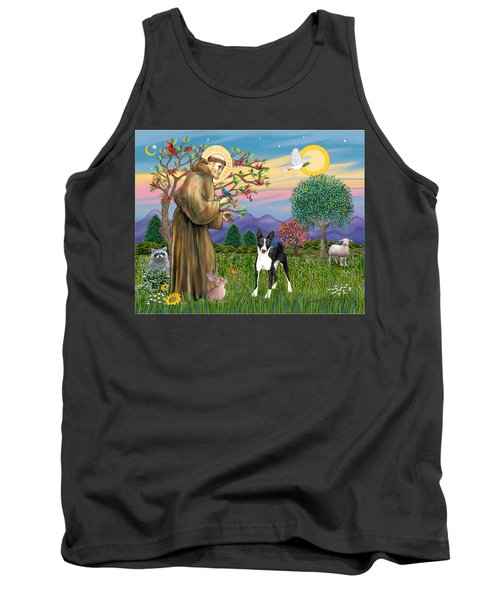 Saint Francis Blesses A Black And White Basenji Tank Top