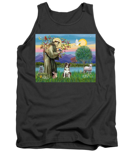 Saint Francis Blesses A Brown And White Border Collie Tank Top