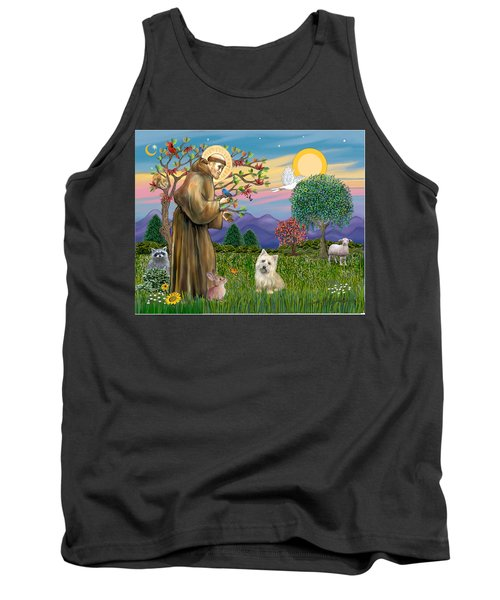 Saint Francis Blesses A Cairn Terrier Tank Top