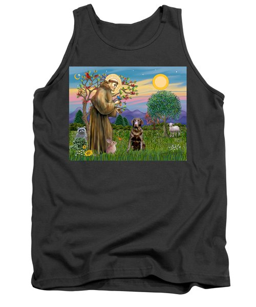 Saint Francis Blesses A Chocolate Labrador Retriever Tank Top