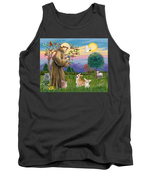Saint Francis Blesses A Corgi And Her Pup Tank Top