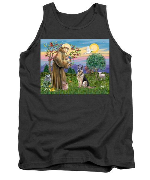 Saint Francis Blesses A German Shepherd Tank Top
