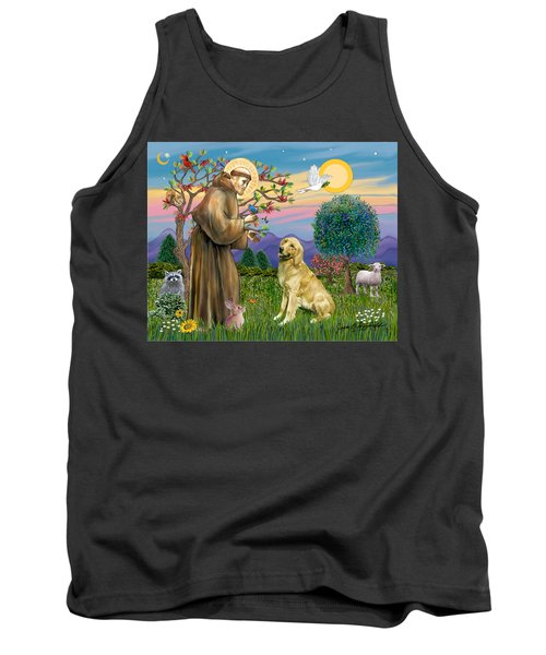 Saint Francis Blesses A Golden Retriever Tank Top by Jean Fitzgerald