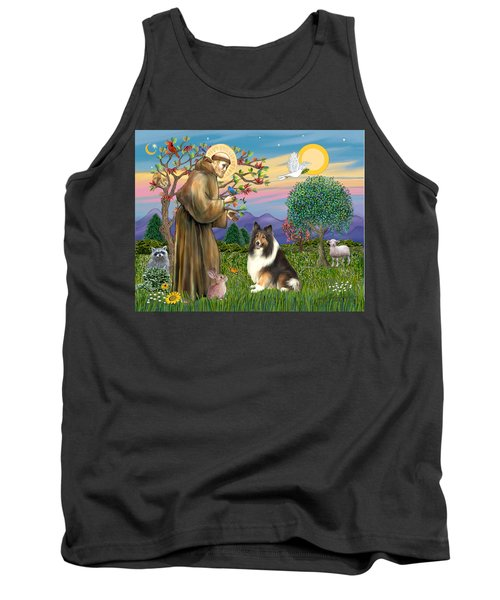 Saint Francis Blesses A Sable And White Collie Tank Top