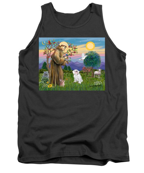 Saint Francis Blesses An English Bulldog Tank Top