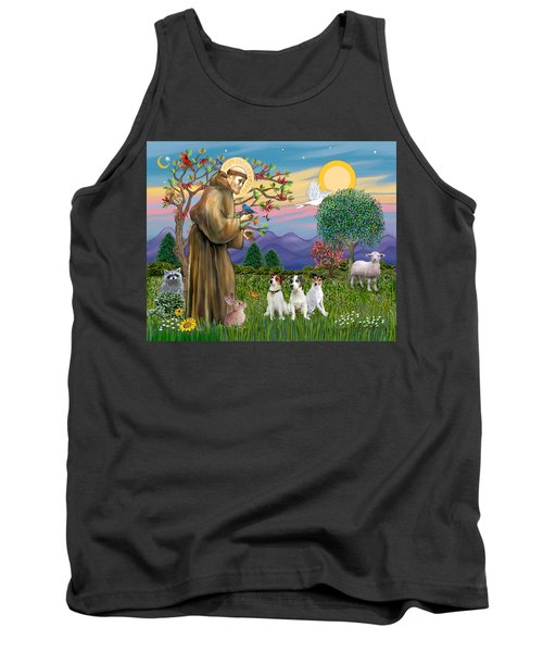 Saint Francis Blesses Three Jack Russell Terriers Tank Top