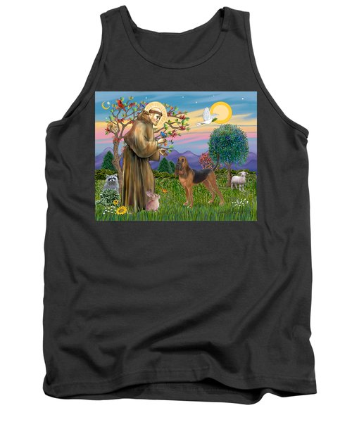 Saint Francis Blessing A Bloodhound Tank Top