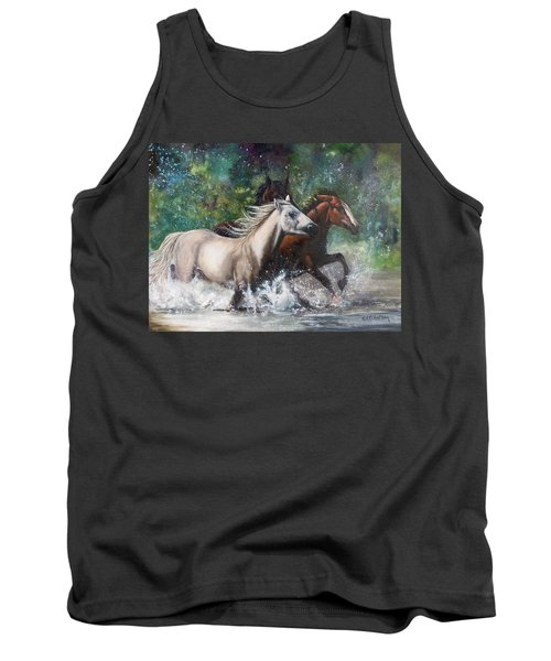 Tank Top featuring the painting Salt River Horseplay by Karen Kennedy Chatham