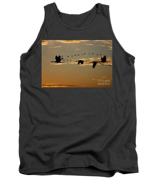Sandhill Cranes At Sunset Tank Top
