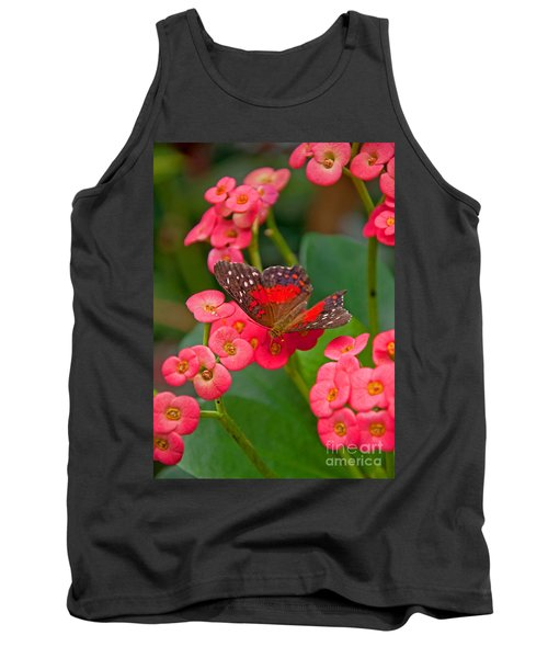Scarlet Swallowtail Butterfly On Crown Of Thorns Flowers Tank Top
