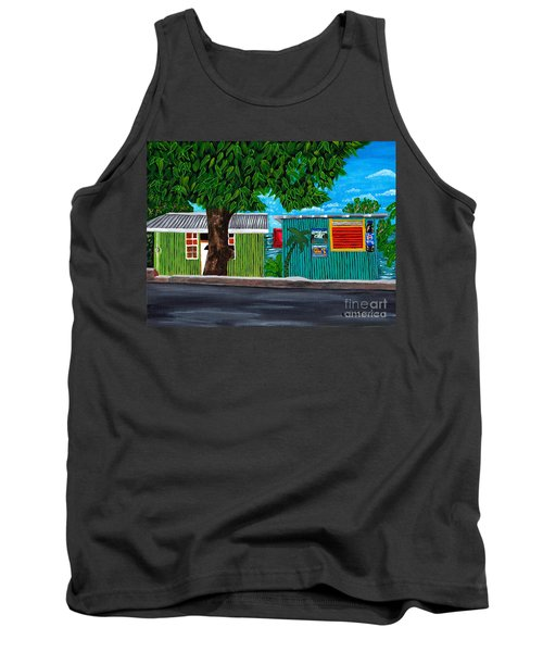 Tank Top featuring the painting Sea-view Cafe by Laura Forde