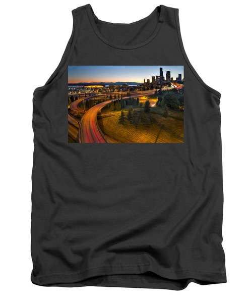 Tank Top featuring the photograph Seattle Downtown Highway Traffic Light Trails by JPLDesigns