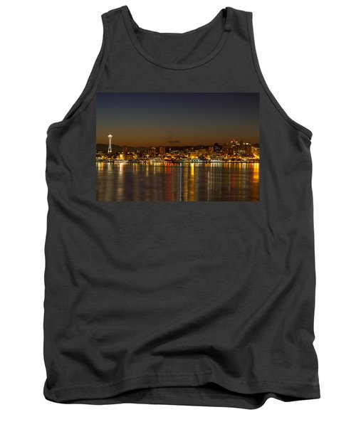 Tank Top featuring the photograph Seattle Downtown Skyline Reflection At Dawn by JPLDesigns