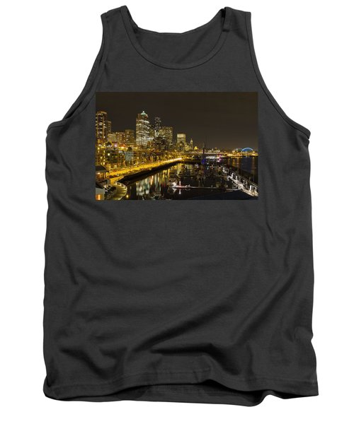 Tank Top featuring the photograph Seattle Downtown Waterfront Skyline At Night Reflection by JPLDesigns
