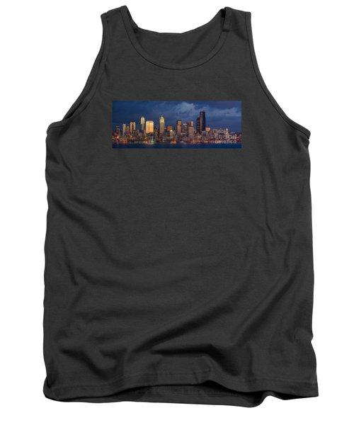 Seattle Skyline Sunset Detail Tank Top by Mike Reid