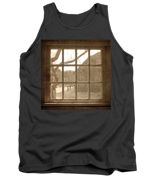 Sepia Colonial Scene Through Antique Window Tank Top