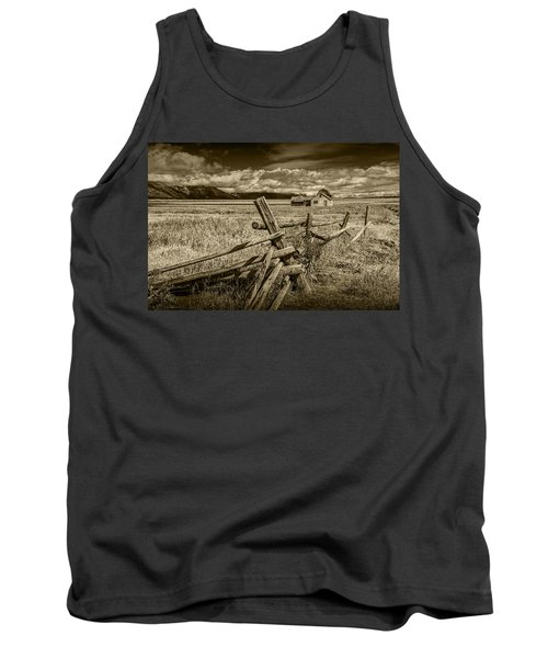 Sepia Colored Photo Of A Wood Fence By The John Moulton Farm Tank Top by Randall Nyhof