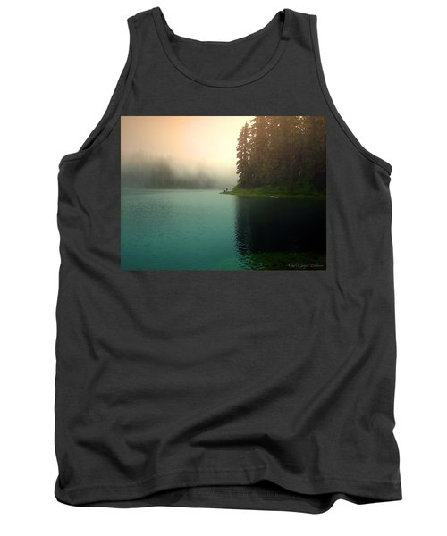 Serenity On Blue Lake Foggy Afternoon Tank Top