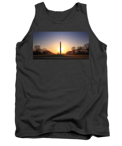 Setting Sun On Washington Monument Tank Top by Shelley Neff