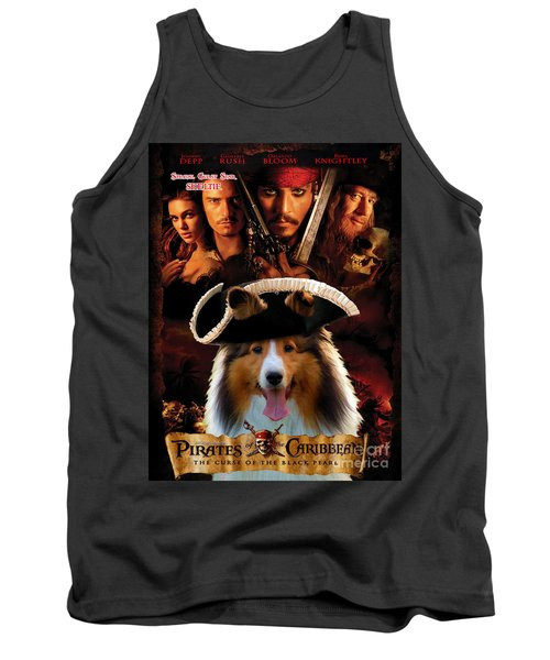 Sheltie - Shetland Sheepdog Art Canvas Print - Pirates Of The Caribbean The Curse Of The Black Pearl Tank Top