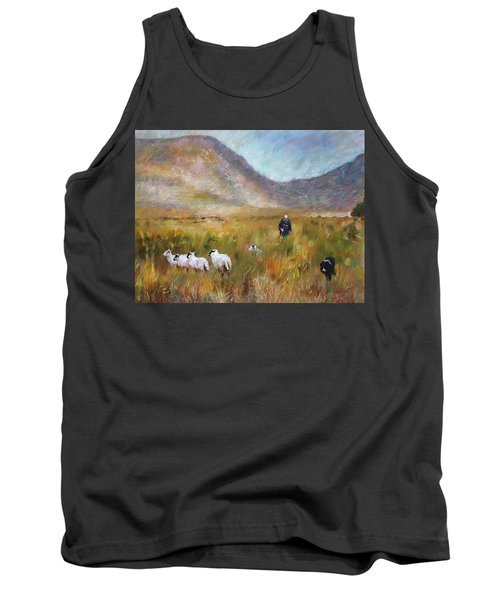 Tank Top featuring the drawing Shepherd And Sheep In The Valley  by Viola El