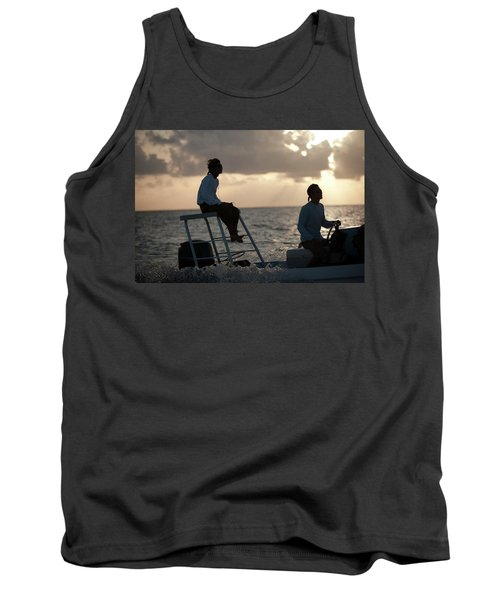 Sillouetted Man Steers Flats Boat Tank Top