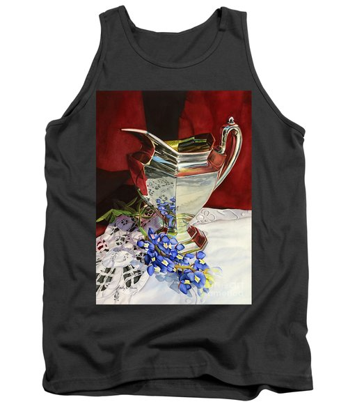 Silver Pitcher And Bluebonnet Tank Top