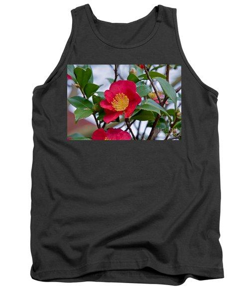 Single Petal Red Camellia Flowers Art Print Tank Top