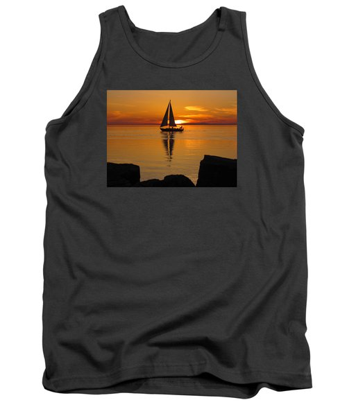Sister Bay Sunset Sail 2 Tank Top by David T Wilkinson