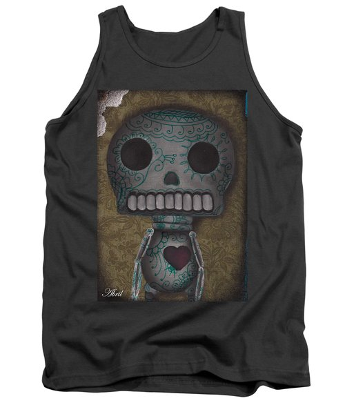 Skelly With A Heart Tank Top by Abril Andrade Griffith