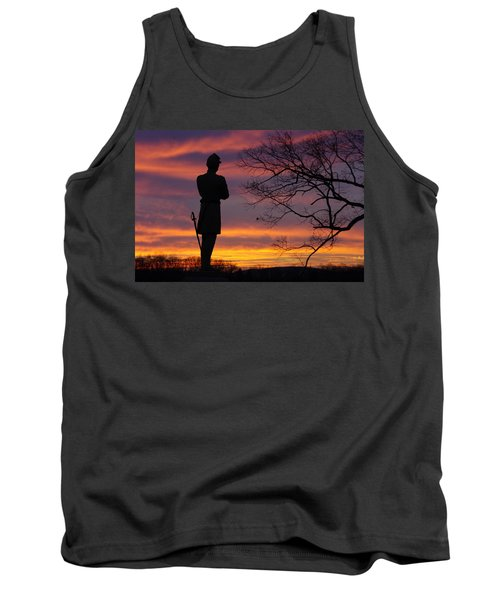 Tank Top featuring the photograph Sky Fire - 124th Ny Infantry Orange Blossoms-1a Sickles Ave Devils Den Sunset Autumn Gettysburg by Michael Mazaika