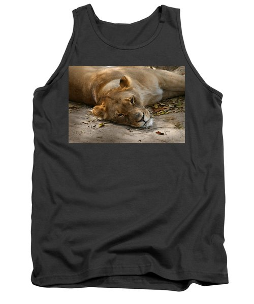Tank Top featuring the photograph Sleepy Lioness by Ann Lauwers