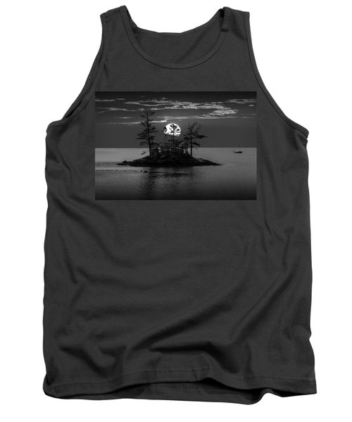 Small Island At Sunset In Black And White Tank Top