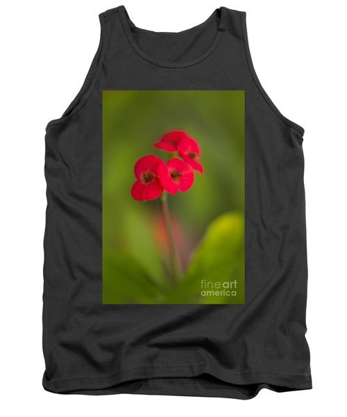 Small Red Flowers With Blurry Background Tank Top