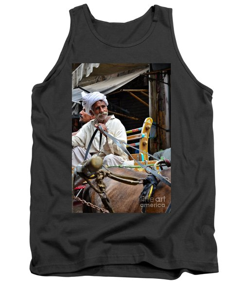 Smiling Man Drives Horse Carriage In Lahore Pakistan Tank Top