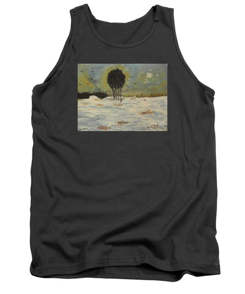 Tank Top featuring the painting Snow At Christmas by Pamela  Meredith