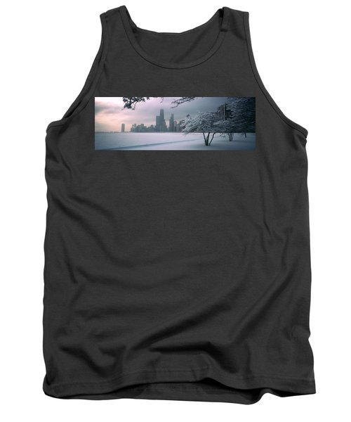 Snow Covered Tree On The Beach Tank Top