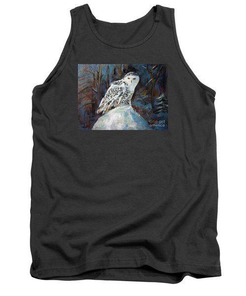 Tank Top featuring the painting Snow Owl by Jieming Wang