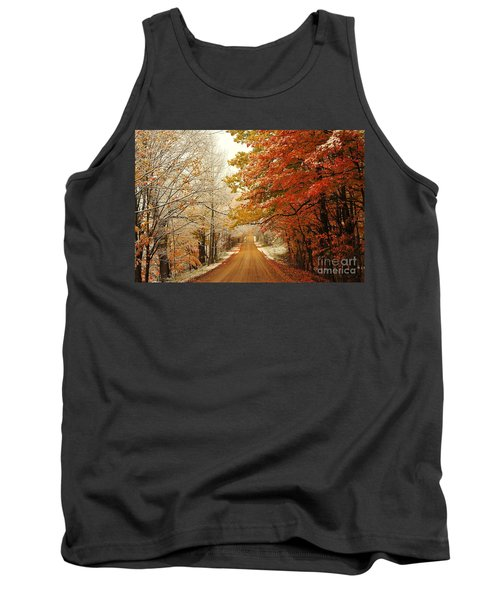 Snowy Autumn Road Tank Top